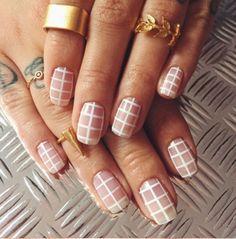 Nail Designs — Minimalistic White Grid Nail Design Minimalistic...