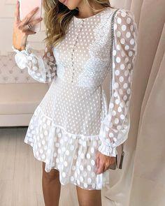 Dot Sheer Mesh Eyelash Lace O Neck Long Sleeve Casual Dress Trend Fashion, Womens Fashion, Fashion Top, Cheap Fashion, Dresses Elegant, Lace Dresses, Casual Dresses, Dress Lace, Pretty Dresses