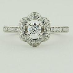 Platinum Rosette Diamond Ring. Set with a 0.31 Carat, Round, Very Good Cut, D Color, VVS1 Clarity Diamond. #BrilliantEarth