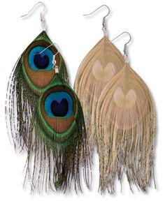 Peacock earrings always make me wish my ears were pierced ;_;