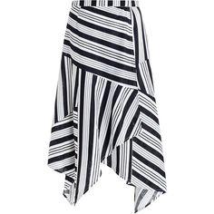 Zimmermann Ticking Wrap Skirt ($450) ❤ liked on Polyvore featuring skirts, swim skirt, knee length swim skirt, zimmermann, striped wrap skirt and black wrap skirt