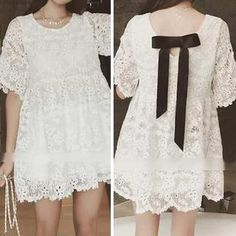 Elbow-Sleeve Embroidered Lace Dress