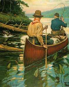Vintage Philip R Goodwin Fishing Canoe Print titled: Early Morning Thrill NICE! Frederic Remington, Hunting Art, Fishing Pictures, Gone Fishing, Fishing Canoe, Vintage Fishing, Mountain Man, Sports Art, Outdoor Art