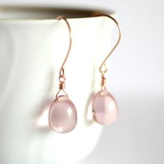 Rose gold earrings glass pink glass earrings by KahiliCreations