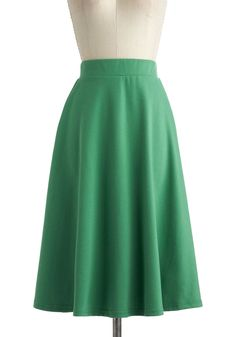 A O-Sway Skirt in Being Green - Long, Green, Solid, A-line, Work, Casual
