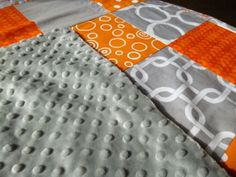 Orange Grey And White Minky Patchwork Baby Blanket in Baby | eBay