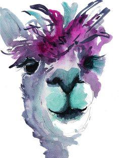 Meet 'Jose' The Alpaca. Jose is a fun, vibrant art print of my original watercolour. Jose brings fun and . Alpacas, Lama Animal, Alpaca Drawing, Llama Decor, Llama Arts, Llama Print, Animal Paintings, Face Paintings, Watercolor Paintings