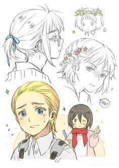 Armin in various hairstyles looks like characters from Hetalia. This kid can be soooooo much I can't even- Attack on Titan- Armin, Mikasa Eren Y Levi, Eren And Mikasa, Armin Snk, Attack On Titan Funny, Attack On Titan Anime, Cosplay Meme, Types Of Boyfriends, Haruhi Suzumiya, Eremika