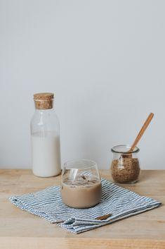 Cashew milk ice coffee Cashew Milk, Tahini, Iced Coffee, Barware, Recipes, Recipies, Ripped Recipes, Cooking Recipes
