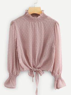 Shop Plus Frill Trim Knot Hem Blouse online. SHEIN offers Plus Frill Trim Knot Hem Blouse & more to fit your fashionable needs. Hijab Fashion, Fashion Dresses, Bluse Outfit, Mode Lolita, Hijab Stile, Retro Mode, Spring Shirts, Mode Hijab, Embroidered Blouse