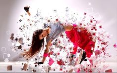 dispersion photoshop effect pink red
