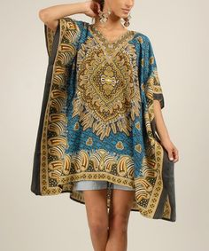 Look at this Turquoise Tribal-Paisley Cape-Sleeve Caftan - Women on #zulily today!