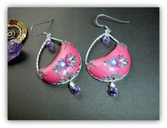 Matte silver teardrop finding with amethyst onions in #polymer #clay by Peelirohini, $40.00 #promofrenzy