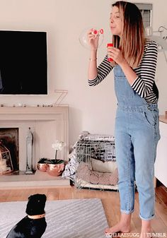 Classic overall's, with a simple shirt, and laid back hair.
