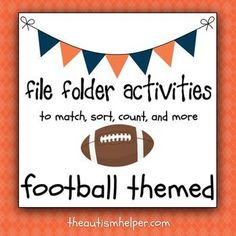 File Folder Activities to Match, Sort, Count, and More! {FOOTBALL themed} by theautismhelper.com
