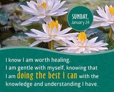 Entiendo que merezco sanación.  Soy amable conmigo misma.  Estoy haciendo lo mejor que puedo con el conocimiento y entendimiento que poseo.