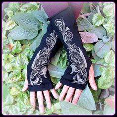 Stretchy cotton arm warmers with silkscreened by TalismanaDesigns, $22.00