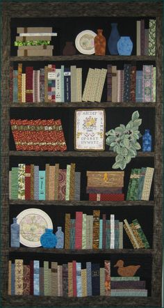 Bookshelf Quilt - Blue Bottles on my Bookshelf