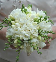 Sweet white freesia make for a beautiful bouquet! Freesia are fragrant and provide wonderful color. Shop freesia in a variety of eye-catching colors a. Freesia Wedding Bouquet, White Wedding Bouquets, Bride Bouquets, Floral Wedding, Flower Bouquets, Purple Bouquets, Fresia Flower, Purple Wedding, Bridesmaid Bouquets