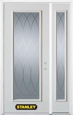 50 Inch X 82 Inch Bourgogne Full Lite White Steel Entry Door With Sidelite