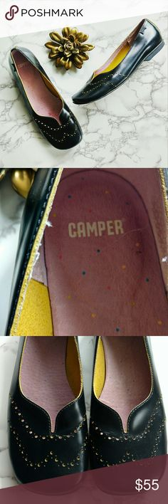 Camper Black Leather Brogue Style Ballet Flats VGUC Camper Shoes Black Leather Brogue Style Slip On Flats Camper Shoes Flats & Loafers