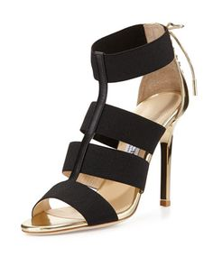 Dario Leather Ladder Sandal, Black/Gold by Jimmy Choo at Neiman Marcus.