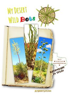 Set of 3 Wild Handmade Wild Desert Bookmarks,  Nature of Big Bend West Texas Desert, Abstract Colorful -, 7.25 x 2 wide