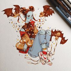 regram I've started reading Dracula and I already love it ! One of my resolutions for 2018 was to read more - at least two books per month. What should I read after Dracula ? Any recommendations ? Illustration Art Nouveau, Illustration Art Drawing, Fantasy Angel, Cartoon Disney, Character Art, Character Design, M Instagram, Posca Art, Art Watercolor