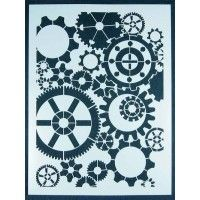 Stencil Girl Gears, 9x12 Stencil | NorthLightShop.com- less than $15 and would make a great basis for reverse applique steampunk awesomeness.