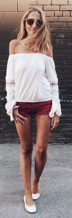 White Off The Shoulder Rust Cut Offs