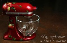 Custom Painted KitchenAid mixer, Apple themed in deep red pearl by Nicole Dinardo of Un Amore INC.