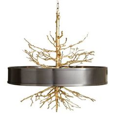 Check out this item at One Kings Lane! Twig Pendant, Brass w/ Bronze Shade