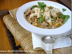 Slow cooker Green Turkey Chili/ green salsa, corn, turkey thighs, cannellini beans