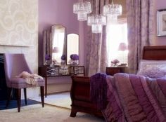 Purple Bedroom Decorating Ideas--wall color, ivory accents, hollywood glamour