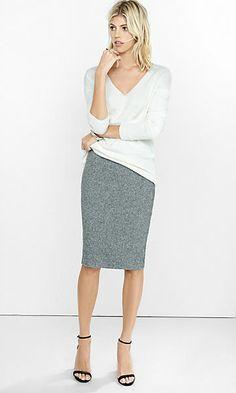 gray high waisted plush jersey pencil skirt