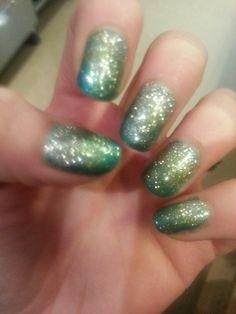 Green/Gold/Silver Rockstar Nails
