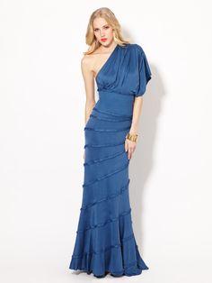 Asymmetrical Silk Jersey Panel Gown by Catherine Malandrino on Gilt