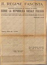 1943 IL REGIME FASCISTA RSI Sorge REPUBBLICA SOCIALE Sequestro patrimoni ebrei