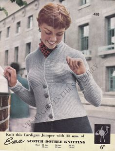 Vintage 1950s Ladies' Cardigan Jumper in Double by lillybell50