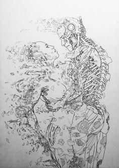 Last Embrace - Noel Guard Cyberpunk Character, Cyberpunk Art, Art Sketches, Art Drawings, Arte Robot, Ligne Claire, Robot Concept Art, Arte Sketchbook, Science Fiction Art