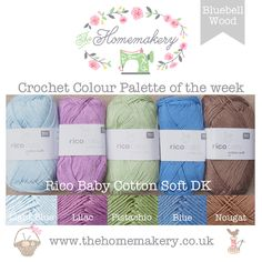 This weeks Bluebell Wood inspired Crochet Colour Palette uses springtime greens and brown with pops of bluebell coloured hues from Rico Baby Cotton Soft DK, a soft cotton and acrylic mix yarn, perfect for babies blankets.