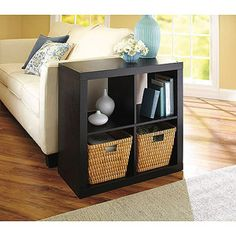 Better Homes and Gardens Square 4-Cube Organizer with Optional Storage Bins, Mutliple Options. I love this idea for our basement media area.