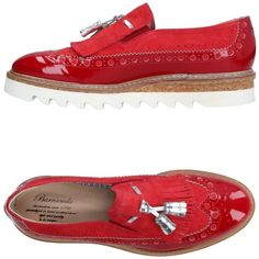 Barracuda Loafer ($320) ❤ liked on Polyvore featuring shoes, loafers, red, leather wedge shoes, leather tassel loafers, animal print shoes, wedge shoes and red loafers