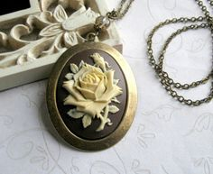 Long Rose Cameo Necklace  vintage style rose by botanicalbird
