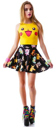 O Mighty Gotta Catch 'Em All Skater Skirt | Dolls Kill- I like the skirt. The shirt's a bit too much, imo.