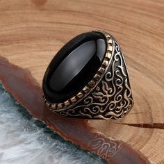 Onyx Stone Classic Silver Ring