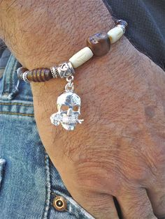 Men's Bracelet with Carved Bone and Skulls on by tocijewelry, $35.00