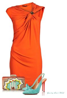 A fashion look from May 2015 featuring cocktail draped dress, orange pumps and multi coloured handbags. Browse and shop related looks. Orange Dress Summer, Orange And Turquoise, Summer Dress Outfits, Professional Outfits, Streetwear Brands, Polyvore Fashion, Luxury Fashion, Street Wear, Orange Blossom