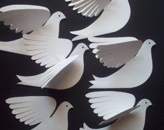 Paper BirdsSix Beautiful Pierced-Wing White Paper by LorenzKraft