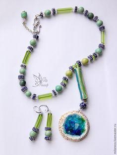 """Купить """"Дама Озера"""" бусы и серьги. Авторская керамика, стекло - этно, этнические украшения"""